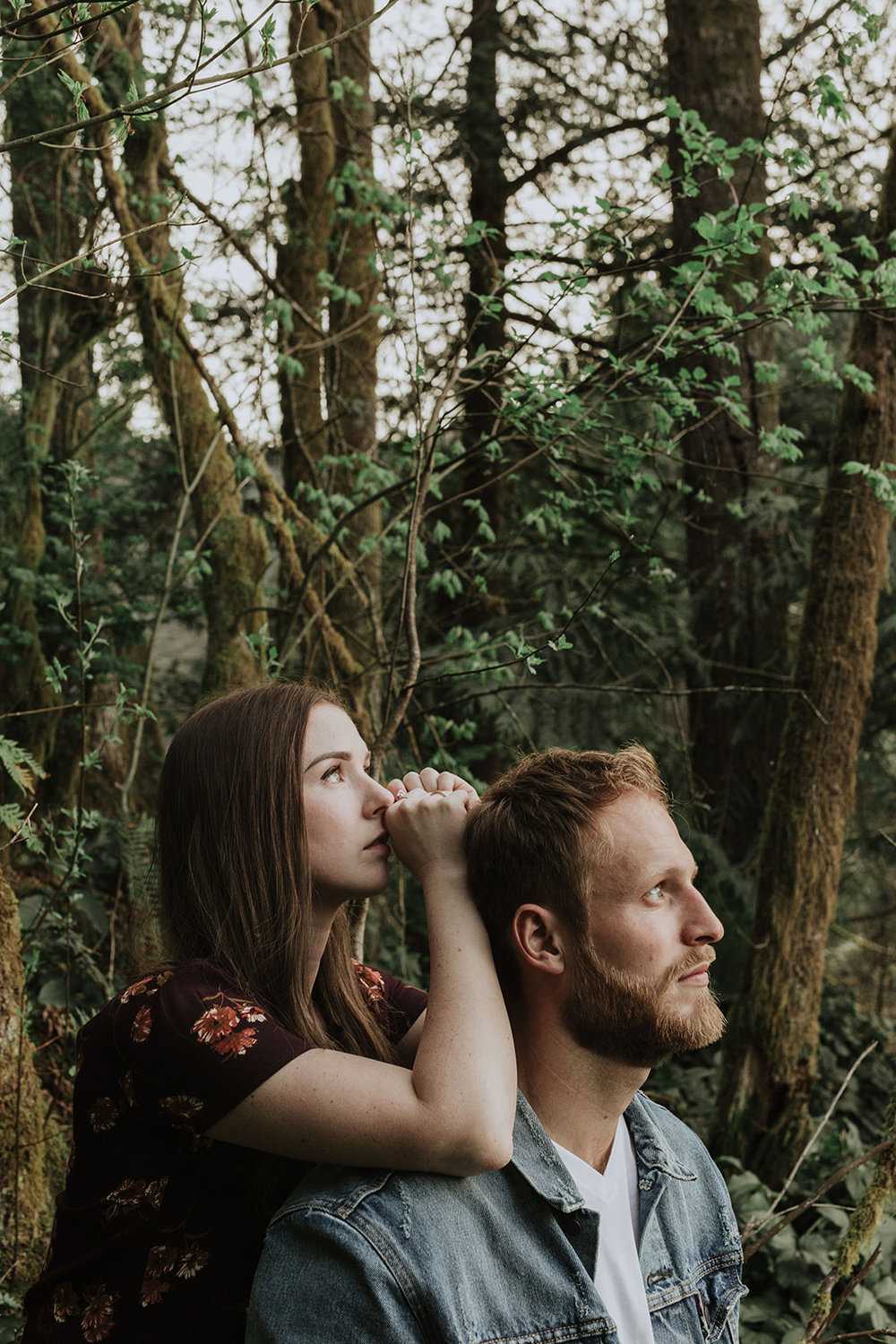 romantic couple in forest