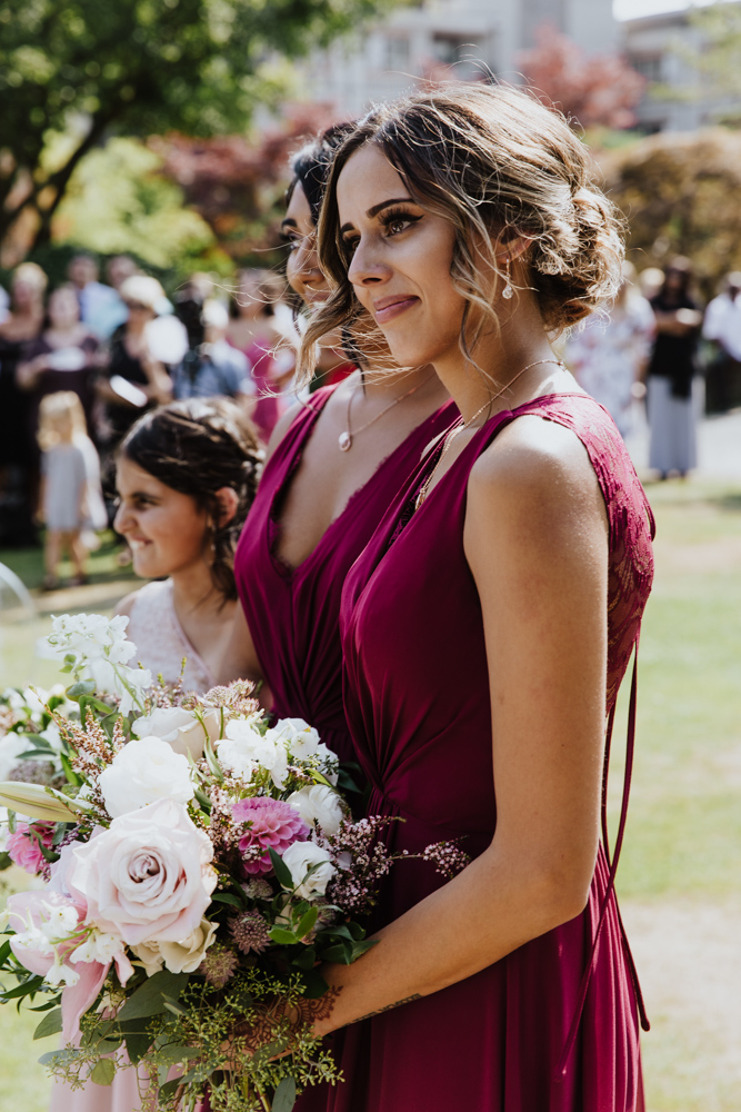 bridesmaid at wedding ceremony