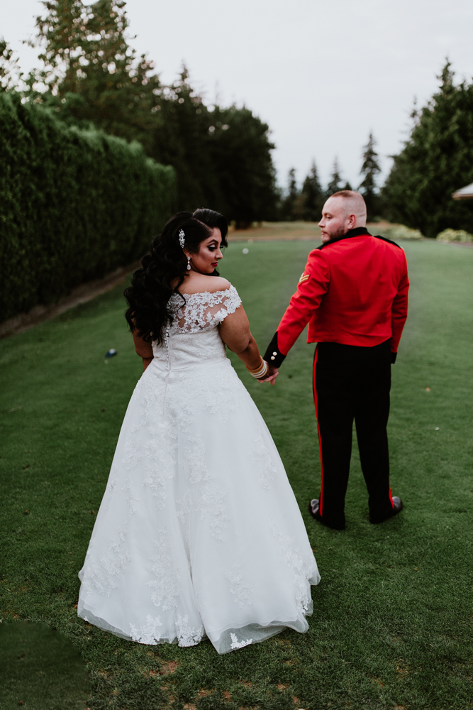 bride and groom at golf course