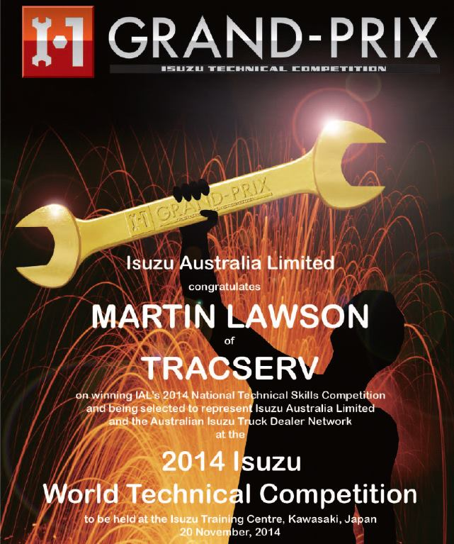 In 2014, our foreman Martin Lawson won the Isuzu Australia Technical skills competition. This gained Martin a place in the Australian Team that traveled to Japan in November 2014 to compete against the rest of the world.  Martin and his team mate came SECOND!! Congratulations to Martin and the Australian team.