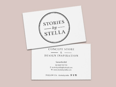 Stories By Stella logo / business cards / with compliments / email signature