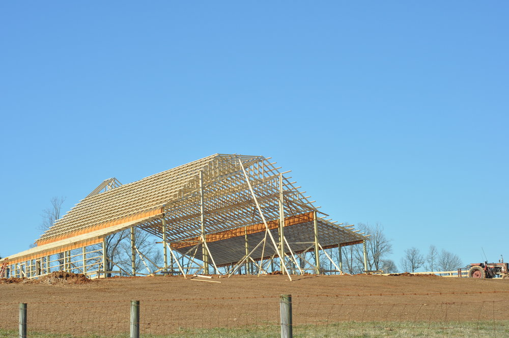 The Barn's frame on February 13, 2010