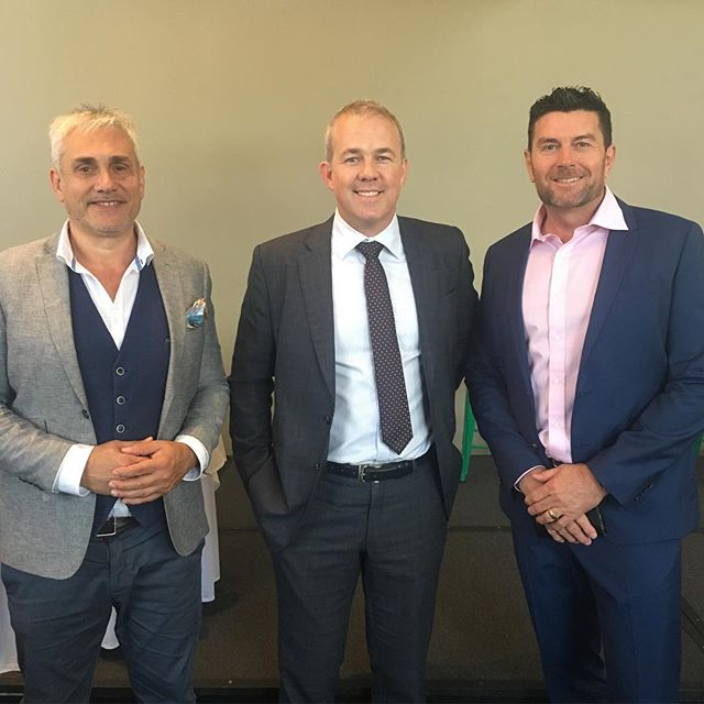 Auction & real estate guru @tom_panos & News Corp Australia's @krisyule at the @redsrugby property breakfast today with @velocitypropertygroup #mc