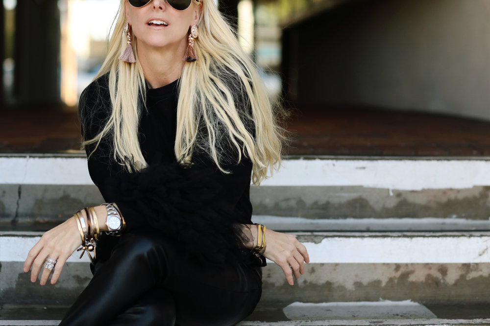 Orange County fashion blogger wearing all black.  fine art photography