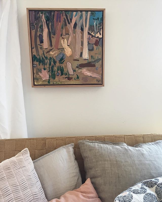 Welcome home 'Hot Day IV' by @therealandypye It was love at first sight @boomgallery . . . . . #boomgallery #boomathome #art #interiors #landscape #australia #bush #nature #oil #painting #hot #day #design #home #franklivingathome #perfect #colour #paint #artwork