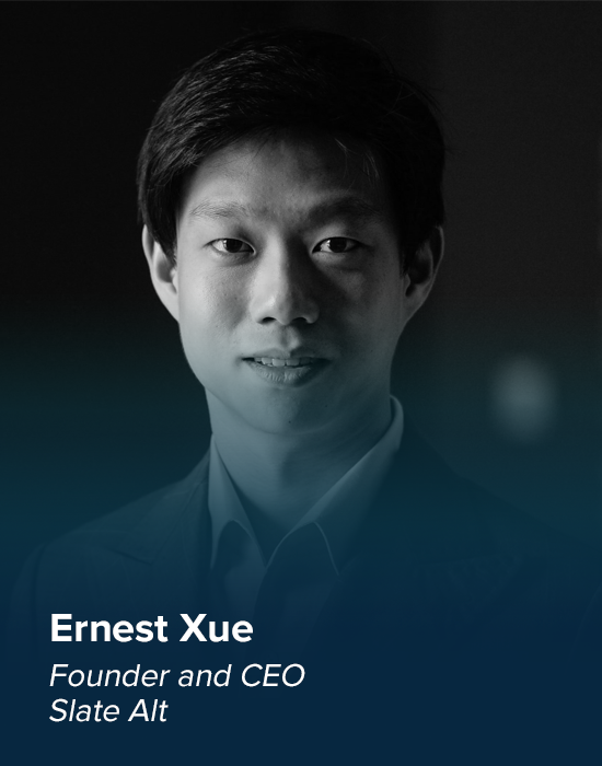 - Founder and CEO of Slate Alt, investment and fundraising platform - Specialized in deep technology innovation - Began his career as an investment analyst in Singapore
