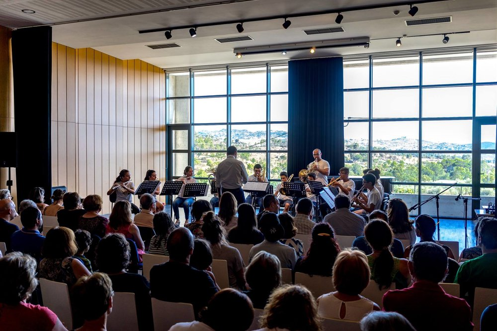 O ensemble de sopros do Festival a atuar na  Casa da Música (Verão de 2017).