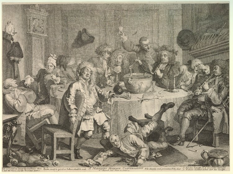 Hogarth, A Midnight Modern Conversation, 1733, engravng and etching,British Museum