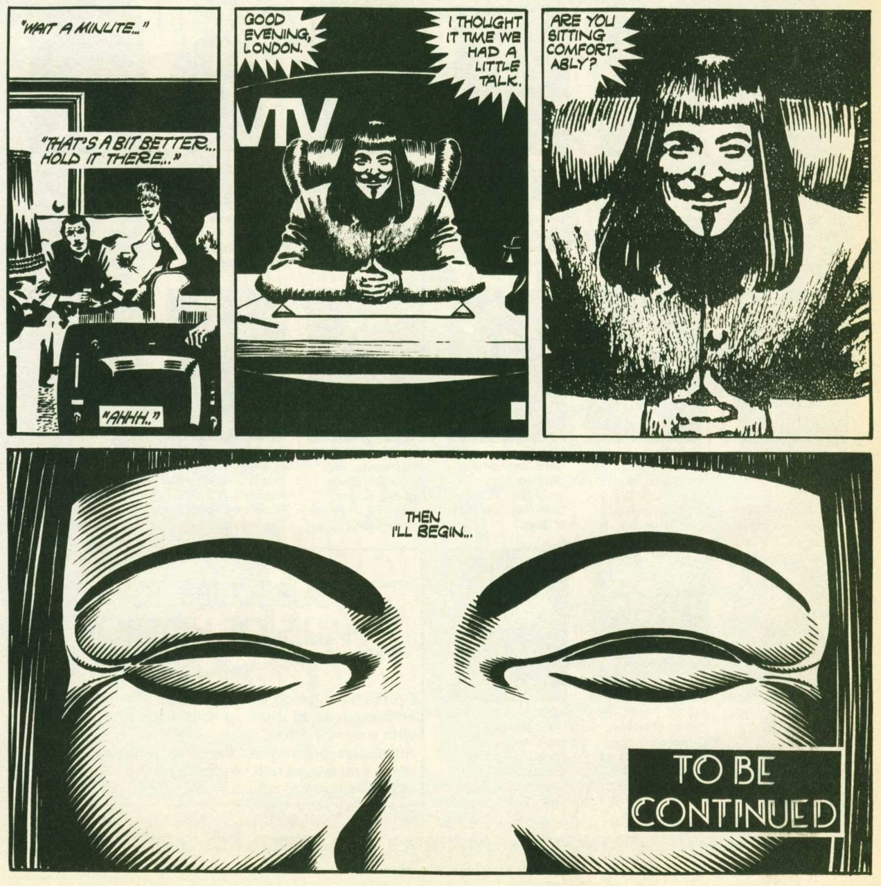 "David Lloyd, ""Video,"" 4 Cell Page from 'V for Vendetta', 1983"