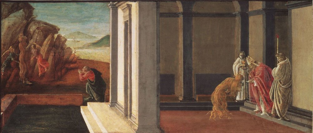 Sandro Botticelli,  The Last Moments of Saint Mary Magdelene ,c. 1494, tempera on panel. Collection of Philadelphia Museum of Art, Philadelphia