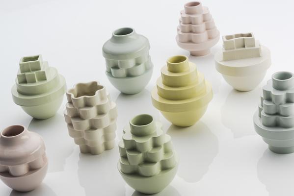 Somchai Charoen, Stack Vases, 2015, slip-cast ceramics (Image courtesy of Home@735)