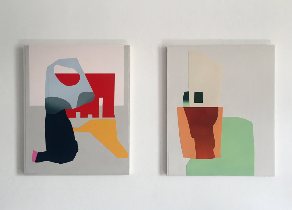 Pictured: Jade Sibinovski,  Dream Theatre  (left) and  Your Loft, My Acid  (right), 2017, acrylic, paper collage, canvas on board, 40 x 50 cm each