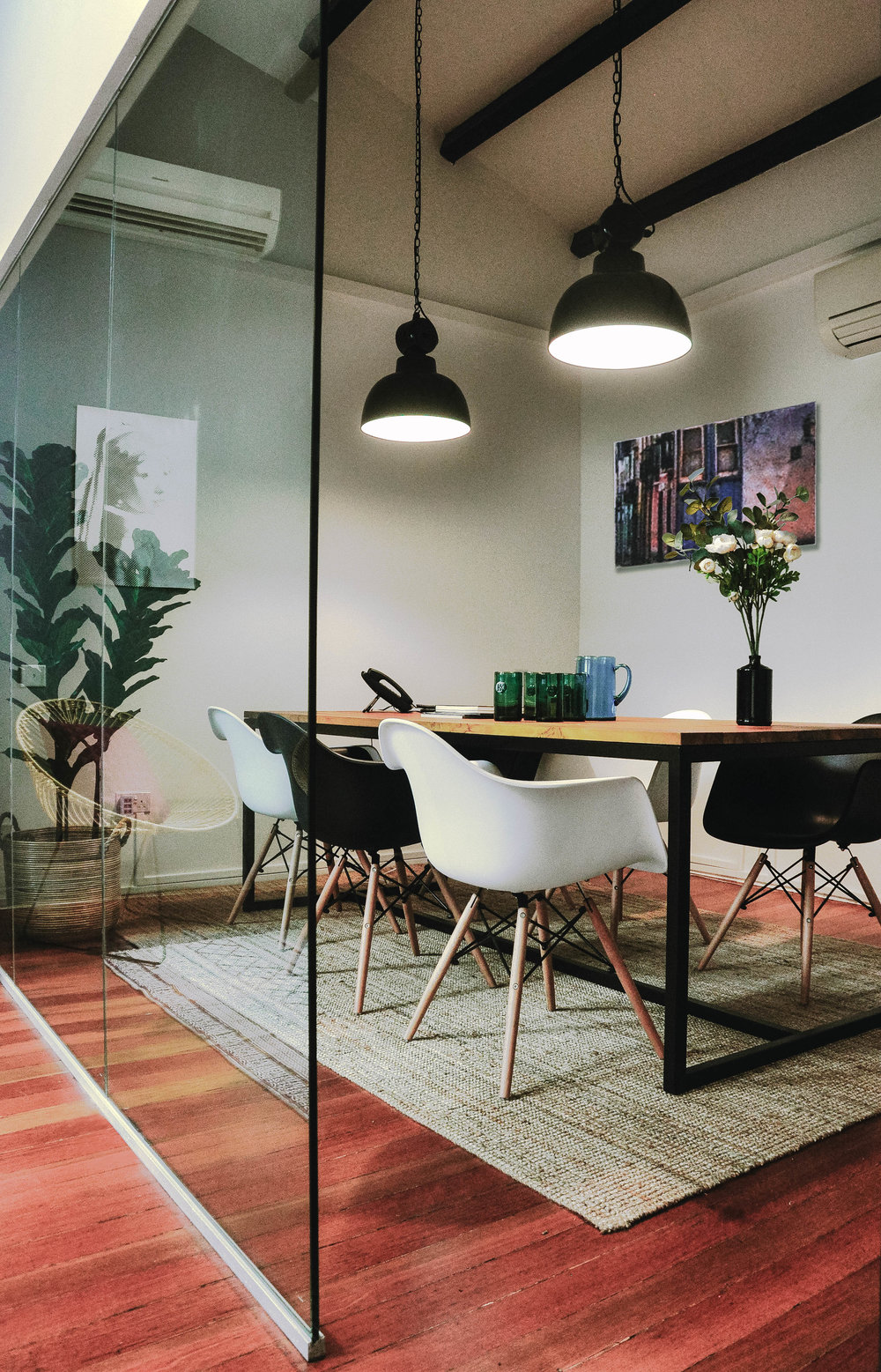 Stylish Shared Office Meeting Room Eames Chairs