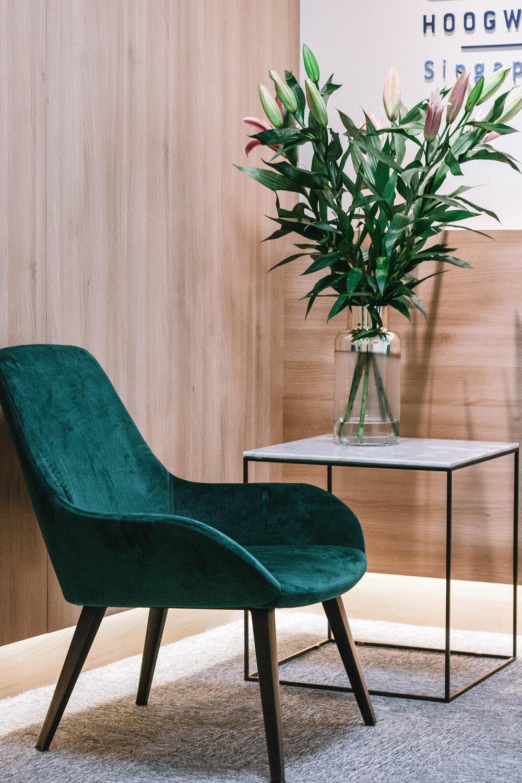 Green Velvet Chair Office Nook