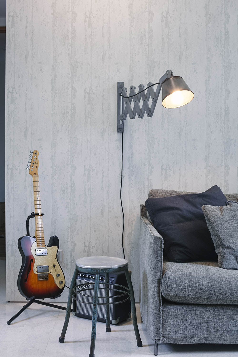 Grey Wall Living Room Corner