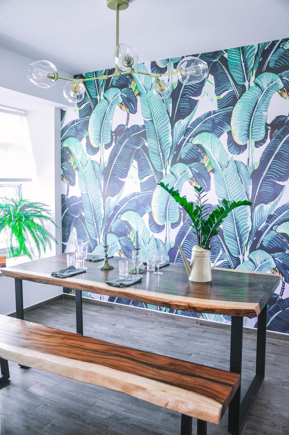 Bold Playful Dining Room Botanical Wallpaper