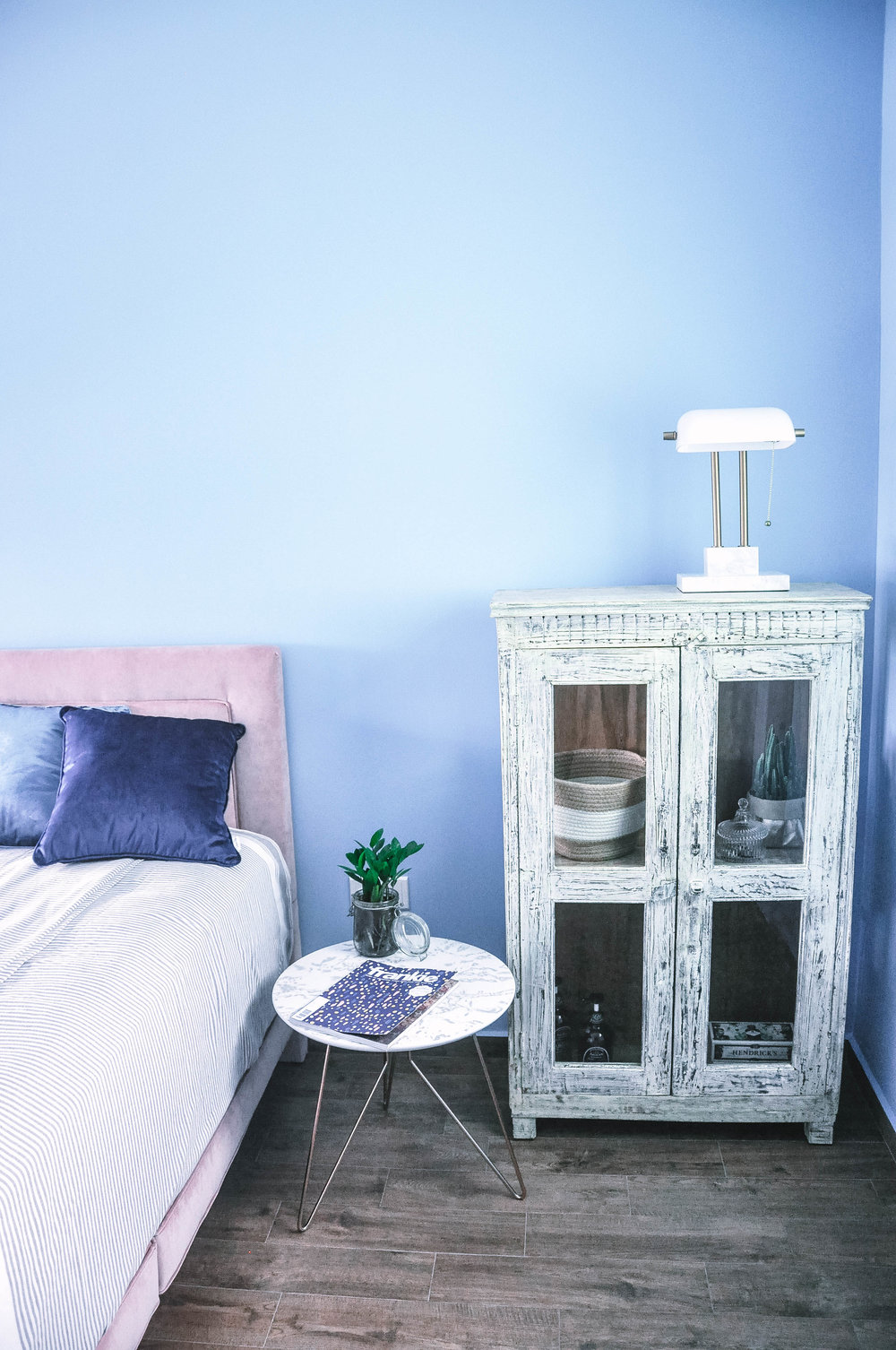 Blue Feature Wall Bedroom Interior decor