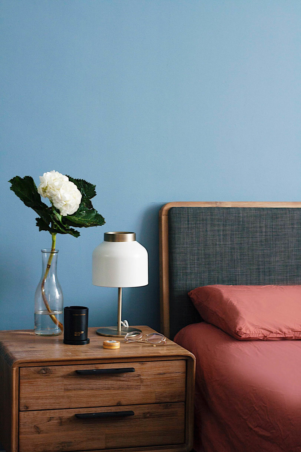Cosy Trendy Blue Wall Bedroom