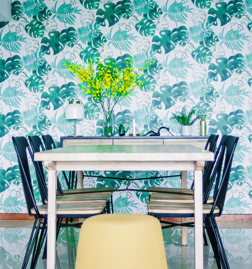 Green Plants Wallpaper Dining Room Statement Design