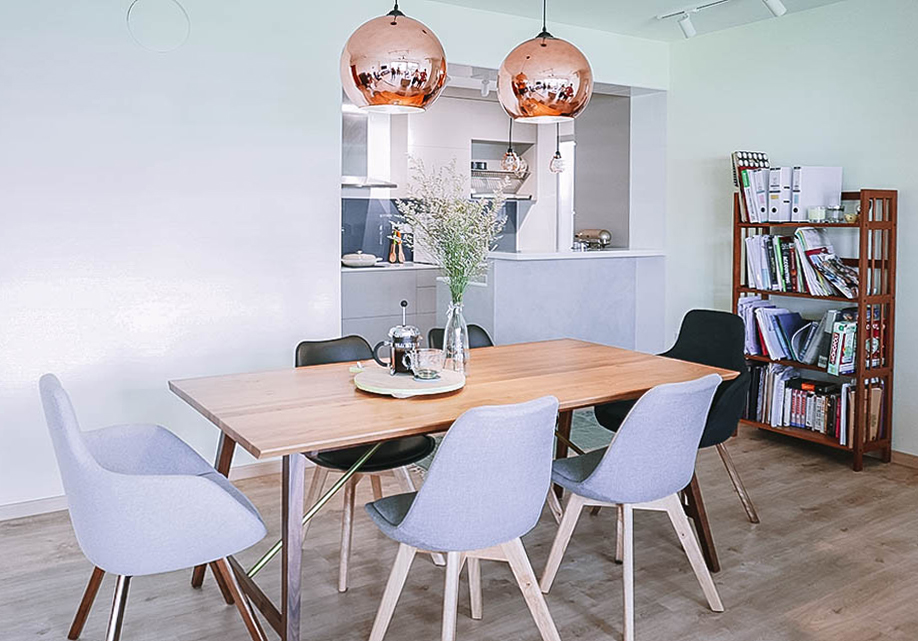 Scandinavian Dining Room Table Brass Accents