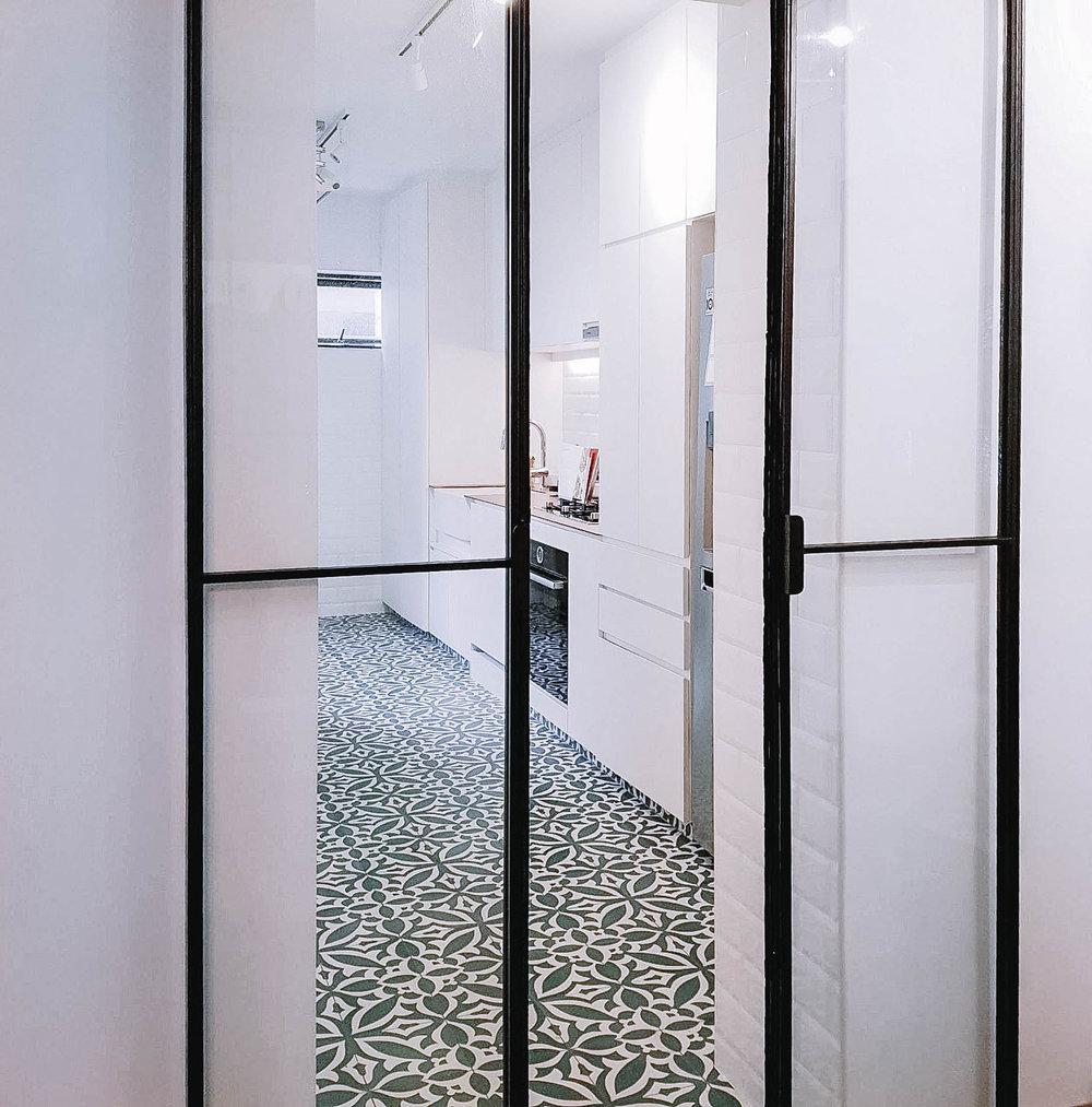 Kitchen Floor Tiles Glass Sliding Door