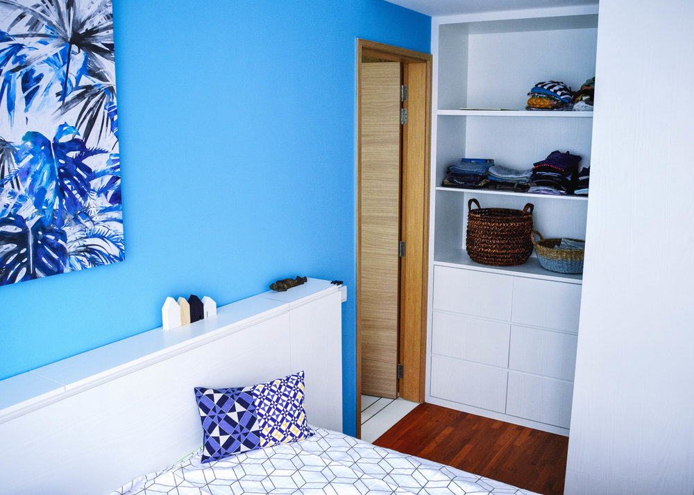 Blue Wall Interior Design Bedroom
