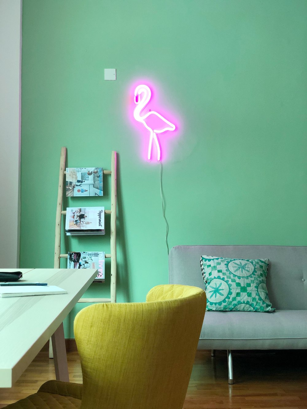 Funky Neon Flamingo Sign Green Wall