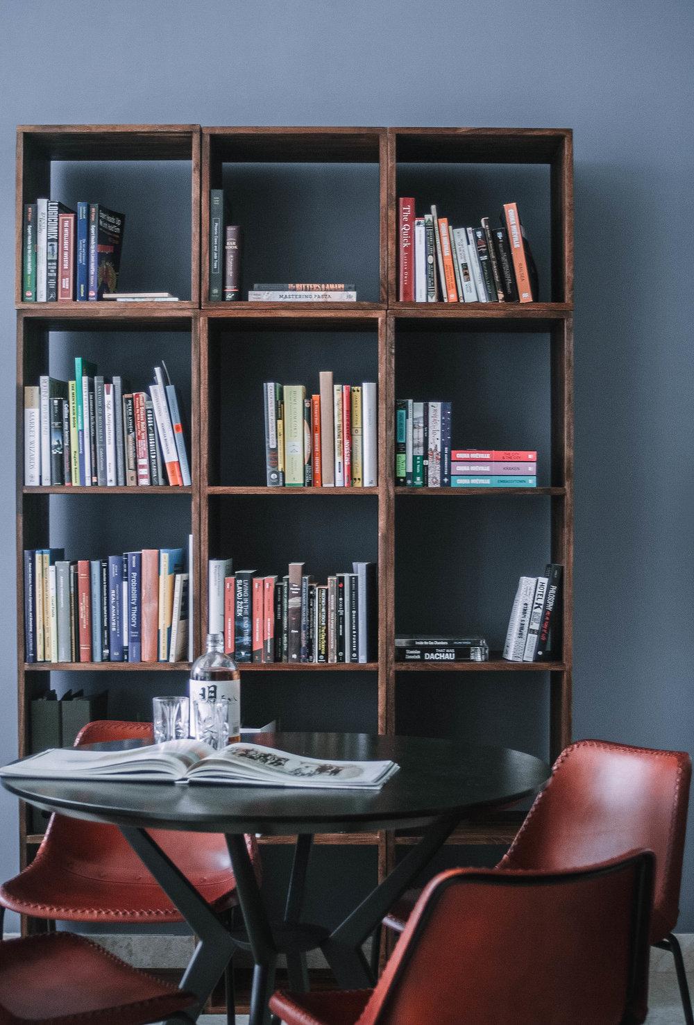 Tall Masculine Wooden Book Shelf