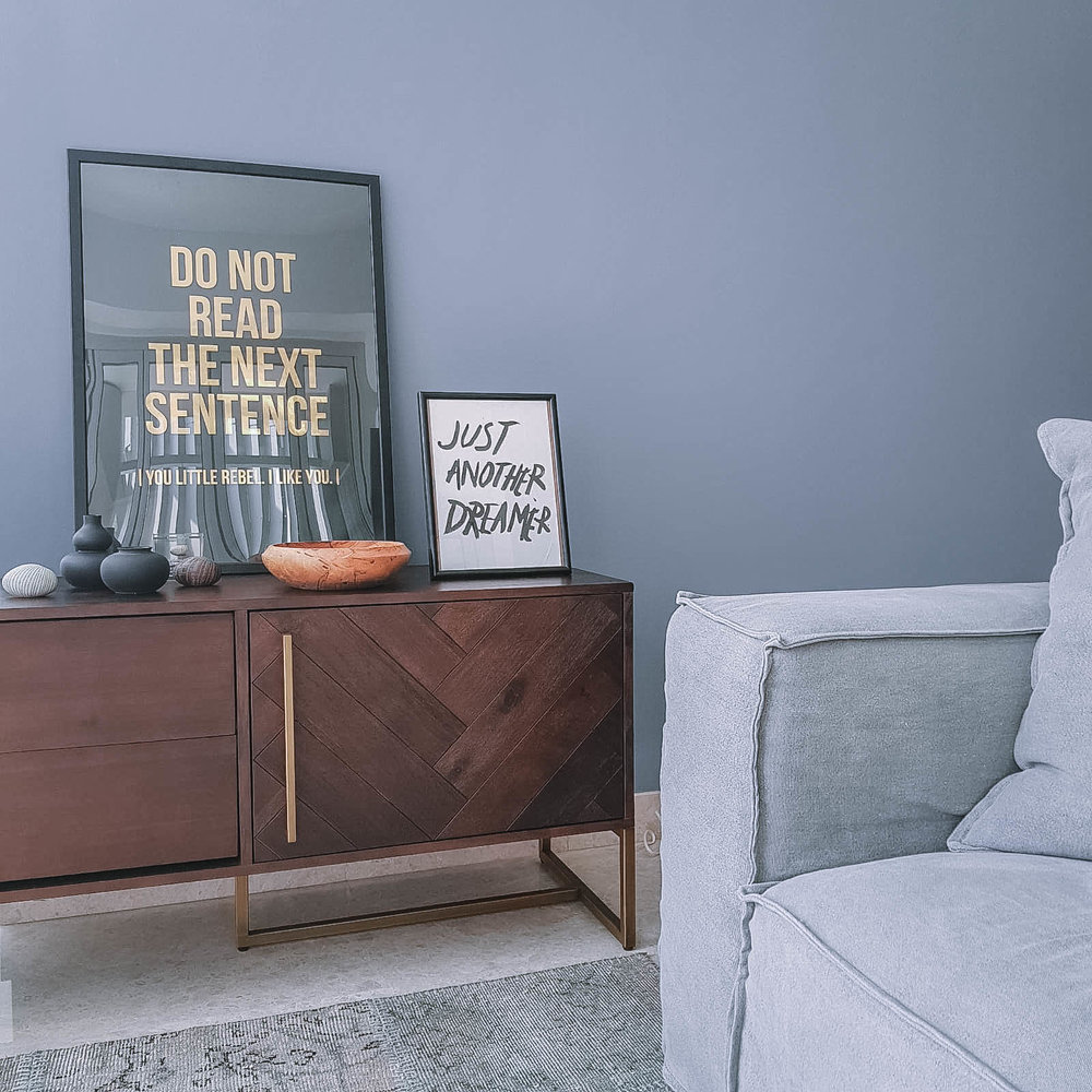 Muted Feature Wall Masculine Living Room