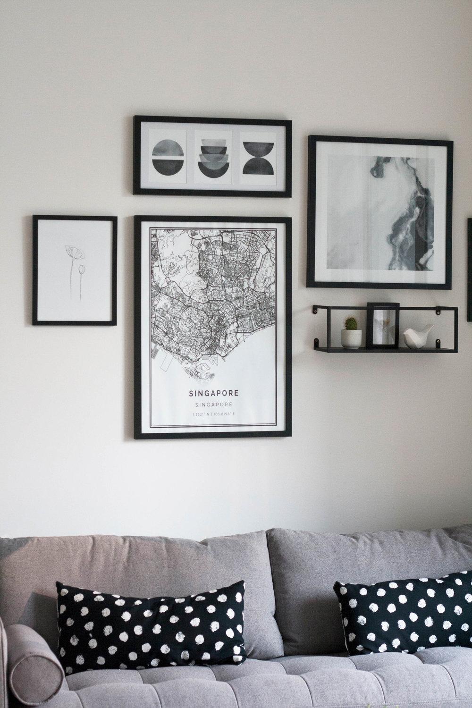 Monochrome Poster Display Living Room