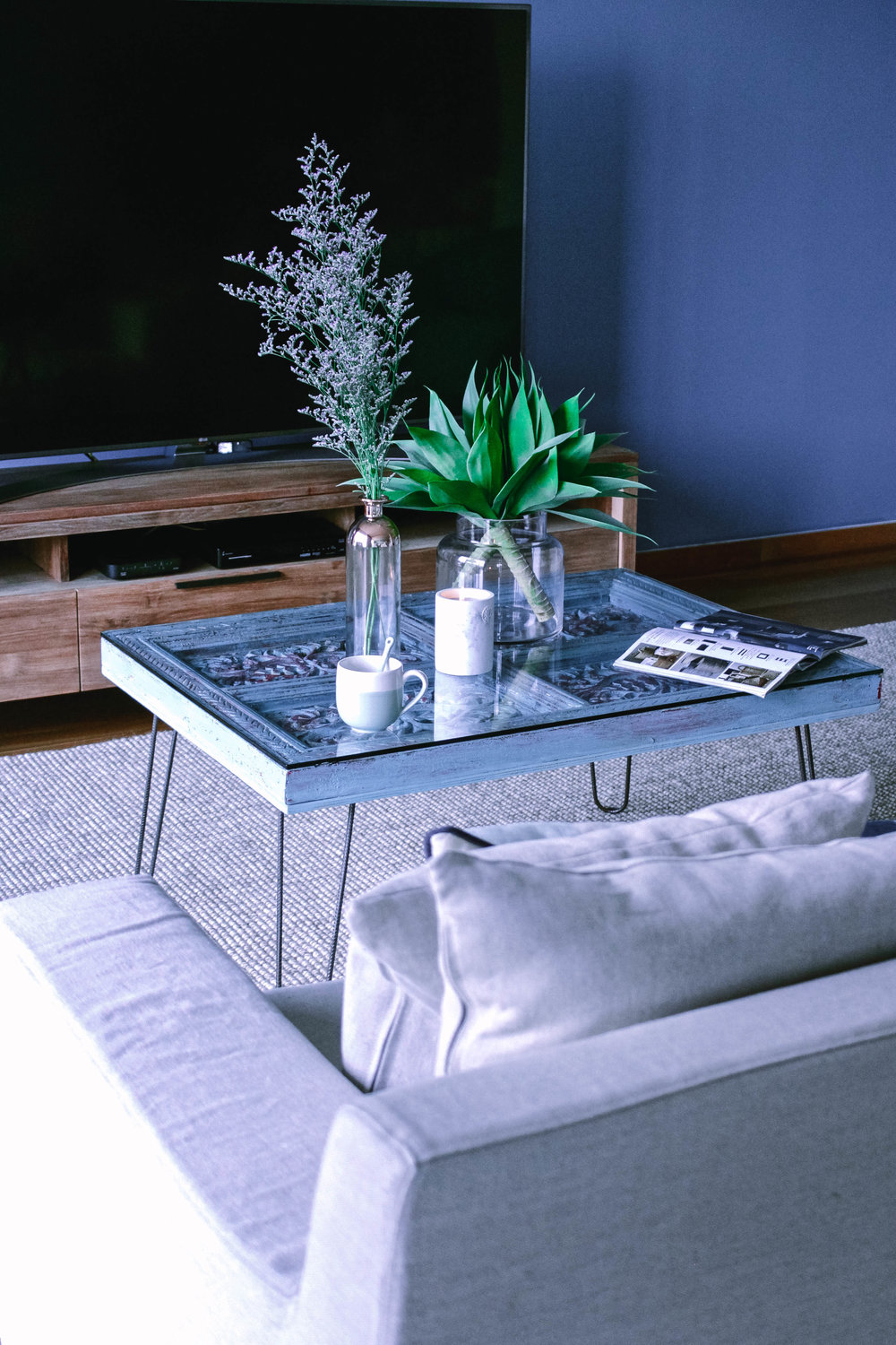 Cool Blue Living Room Styling