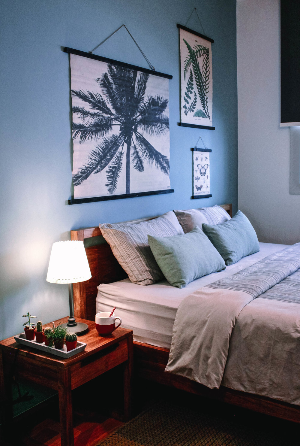 Pastel Blue Feature Wall Bedroom