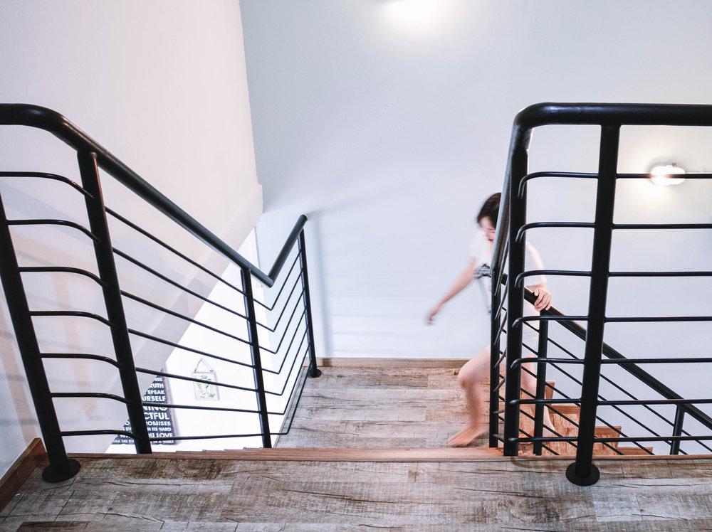Stairs Black Railing Bright Interior Design