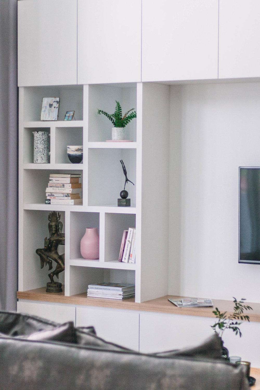 Minimal Custom TV Shelving Unit