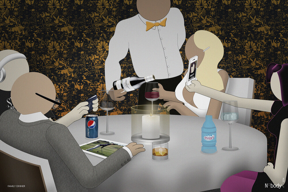 FAMILY DINNER  (2014)  Social media is the place to be, but the mother still finds real life more interesting.