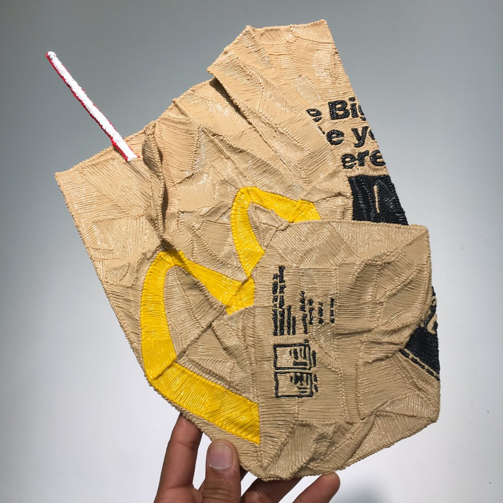 McDonalds Bag with Straw,Actual Size, PLA Plastic, 2018