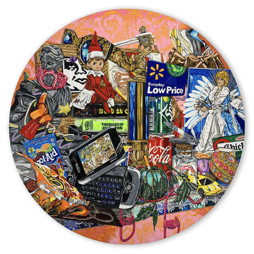 BLOCKBUSTER, 48 inches in diameter, PLA on panel, 2019
