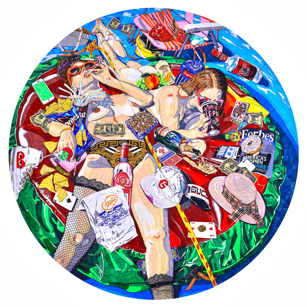 THICC WATER, 2018  96 inches in diameter, PLA on panels (2)