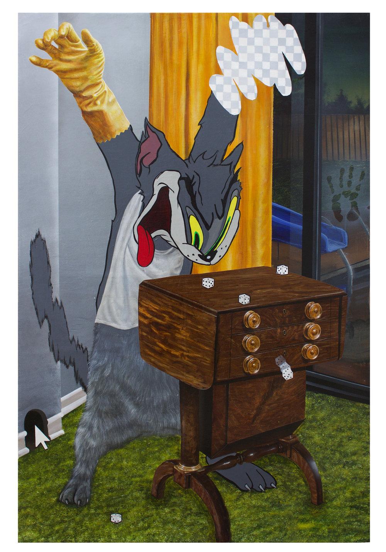 TREY ABDELLA    Yahtzee , 2018  Acrylic on canvas  46 x 30 inches