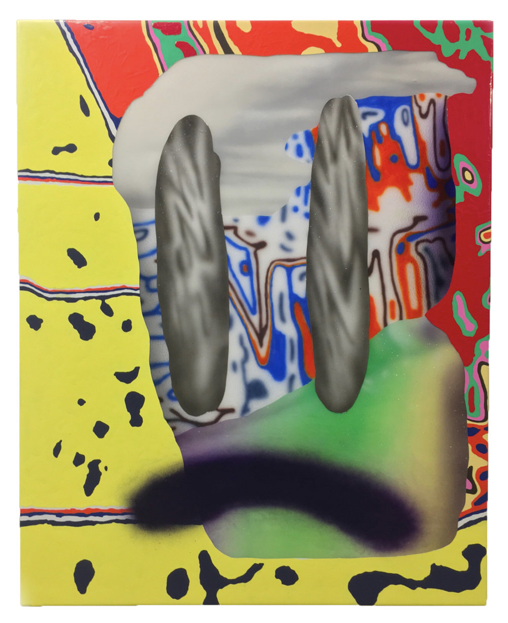 TERRY HOFF    Backeye , 2018  Acrylic, acrylic medium, spray paint, epoxy resin on panel  48 x 38 inches