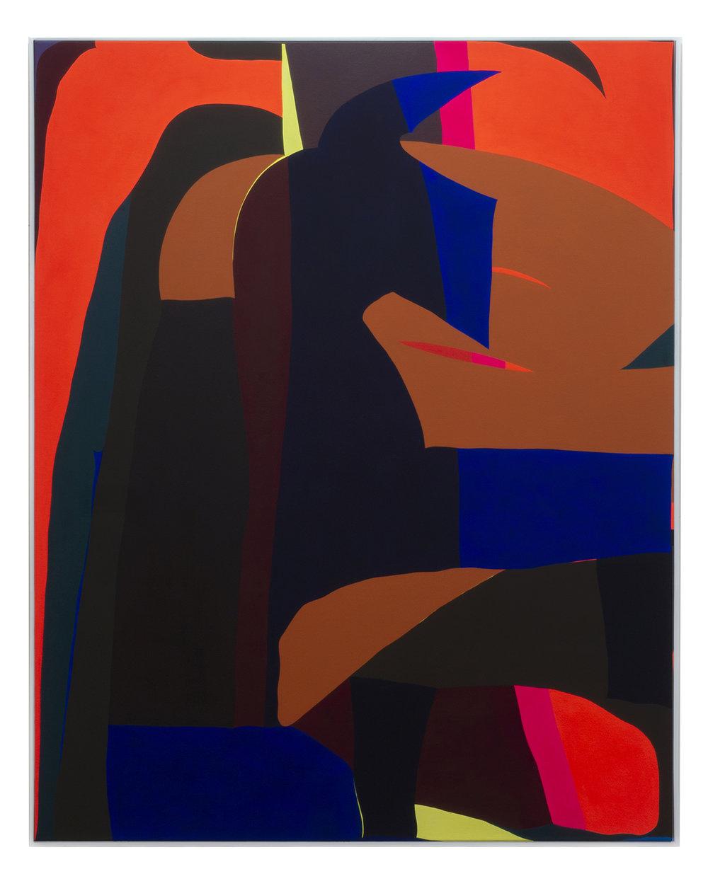 BRIAN SANCHEZ    Doghouse , 2019  Vinyl emulsion on canvas  60 x48 inches
