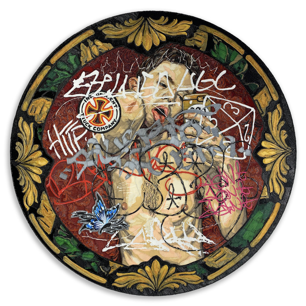 END OF AN ERA, 36 inches in diameter, PLA on panel, 2019