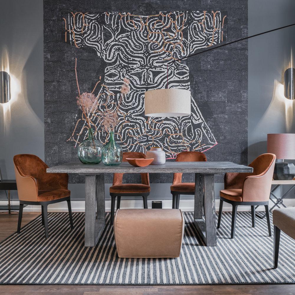 Dedar Milano chairs and Elitis wallpaper