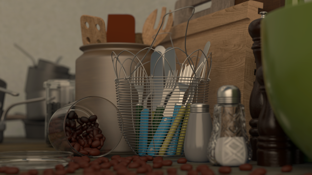 Tabletop Rendering.  Responsible for Texturing, Lighting, and Scene Assembly.  Programs used: Maya and Photoshop.