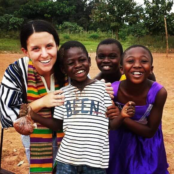Prince & Friends - Pictured: Clare and some of her Ghanaian friends. The boy in the middle is named Prince, he has autism and suffers from seizures. Clare and Prince developed a very close friendship.Photo by Clare Cutler