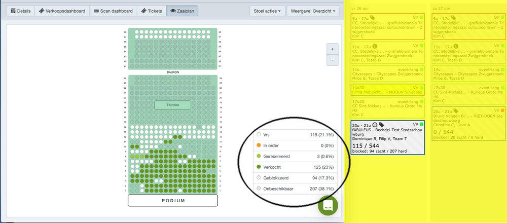 Weergave zaalplan in Ticketmatic/Weergave in zapplanning