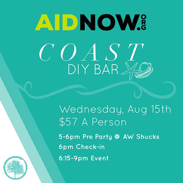 """Join us for a night out with @aidnow at @coastdiybar! ____ 🍷👩🏻 Wine, Women, & Wood to benefit Project Jump Start. August 15, at Coast DIY Bar. $57 a person gets you all the materials, stain, stencil, instructions, plus choice of (2) glasses of Sangria or (2) Non Alcoholic Drinks and a tax deductible donation of $20 to Aidnow.  ____ ✅🎉 Sign up at http://aidnow.org through our """"Donate"""" tab. Space is limited, so don't wait and head over to sign up now!"""