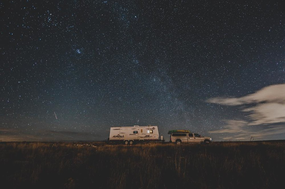 Camping under a starry night in New Mexico