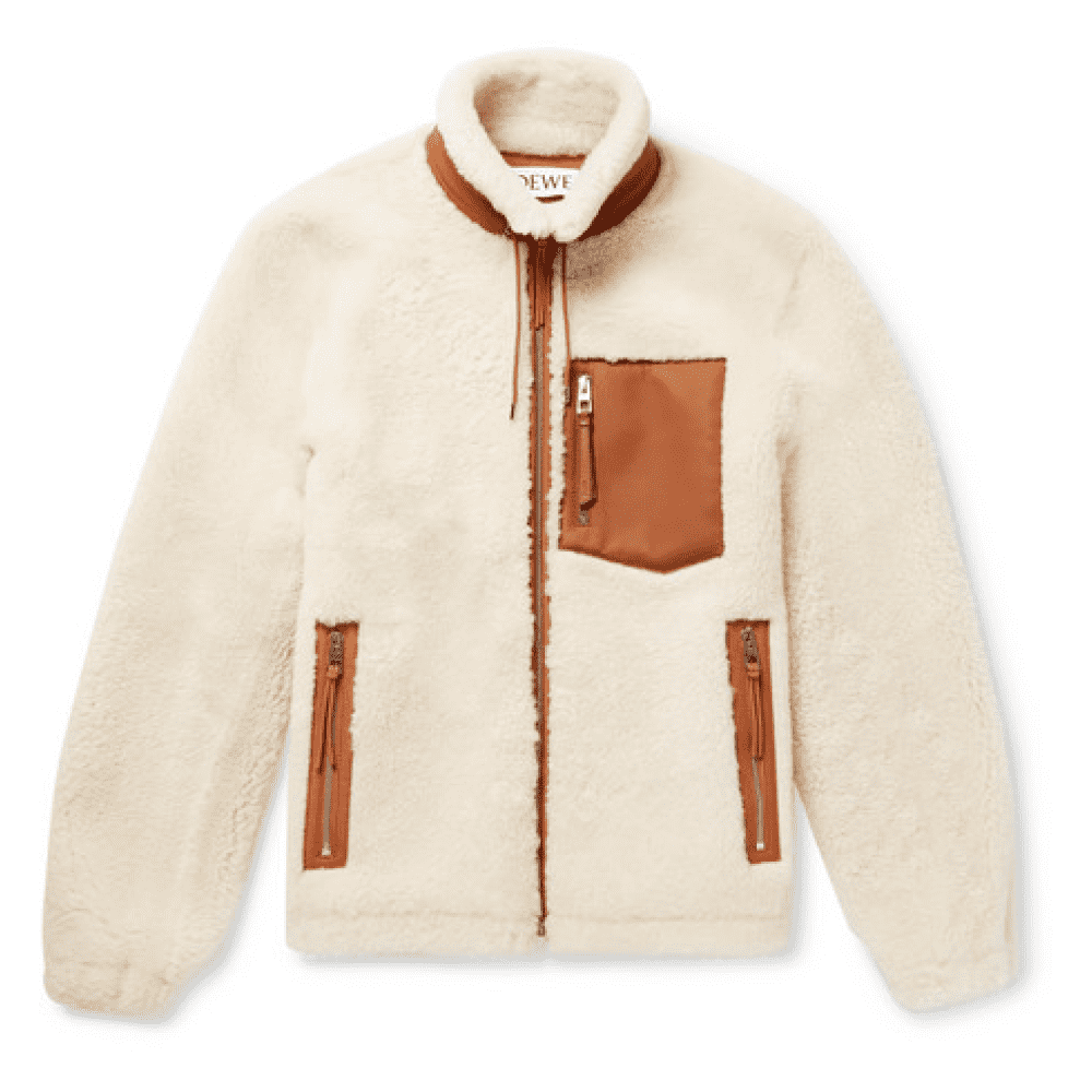 LOEWE LEATHER-TRIMMED SHEARLING - This is the king of fleece jackets if you would even call it a fleece jacket. There's no polyester here! 100% shearling & 100% leather. This comes at a steep price and if you can afford it, don't even bother scrolling below there's no need. Just buy this. For the majority, keep scrolling and check out some great and affordable fleece jackets below.SELLOUT RISK: LOW MED HIGHPurchase now at barneys.com for $4,350.00