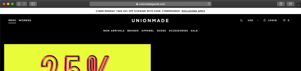 CLICK IMAGE TO BROWSE UNIONMADE CYBER MONDAY DEALS